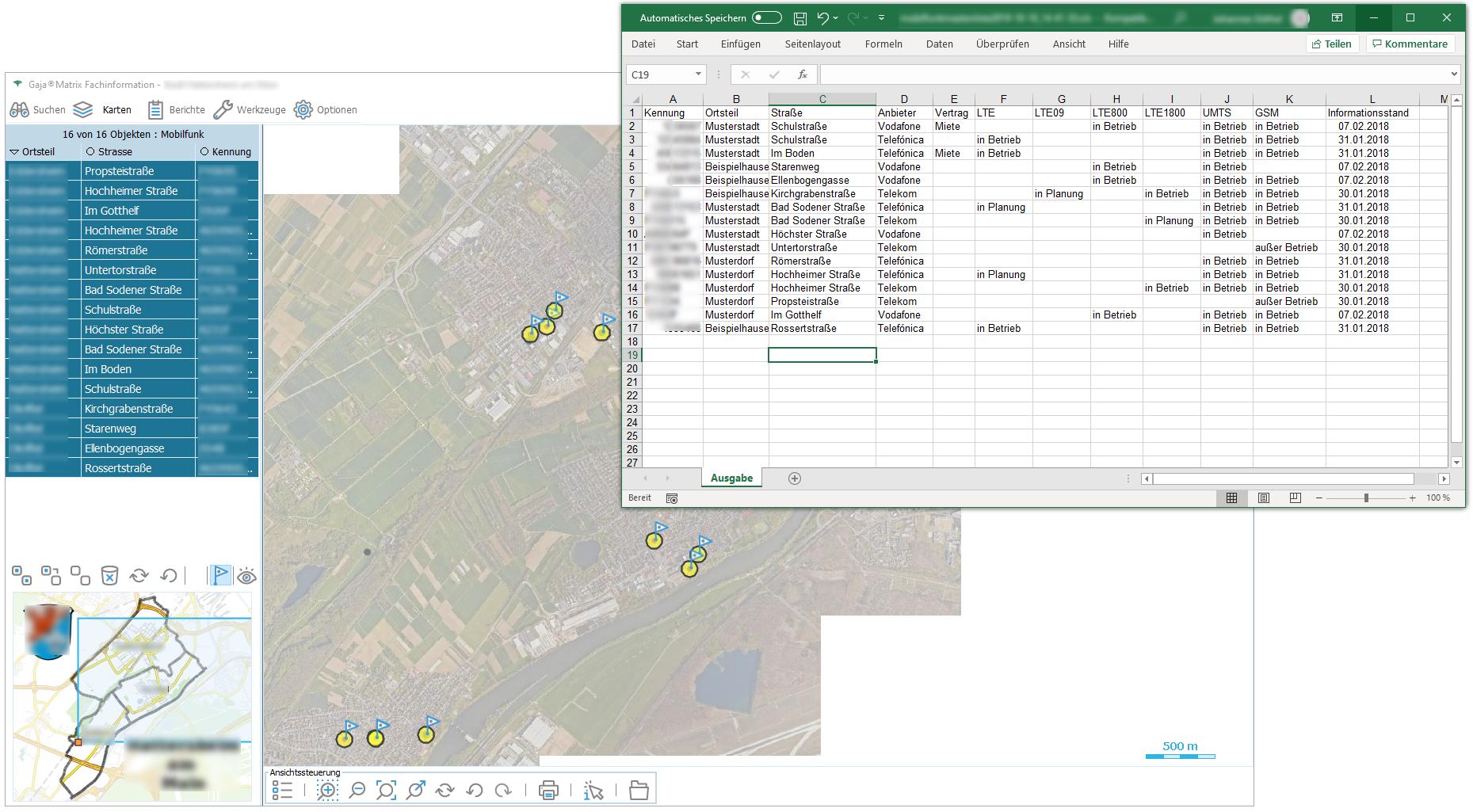 Mobilfunkstandorte mit Excelbericht